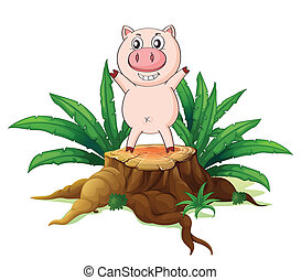 A big tree with a pig