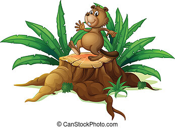 A tree with a playful beaver - Illustration of a tree with a...