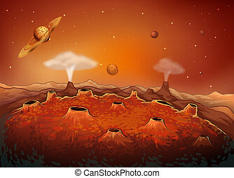 The outer space with planets