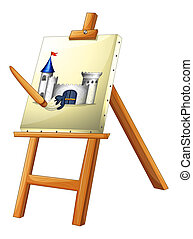 A painting with a paint brush - Illustration of a painting...