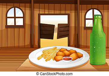 A table with a plate of food and a soda