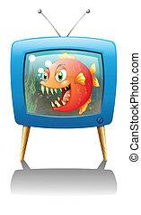 A television show with a big orange piranha