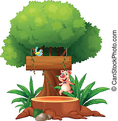 A pig and a bird under the big tree - Illustration of a pig...