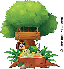 A turtle and a lion under the tree with a wooden signboard