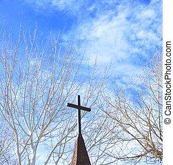 Church steeple. - Church steeple against a clear blue sky.