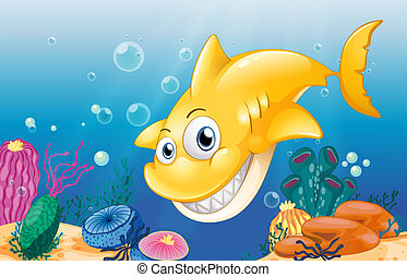 A yellow shark smiling under the sea