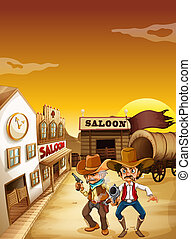Two armed men standing outside the saloon - Illustration of...