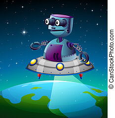 A robot above the earth - Illustration of a robot above the...