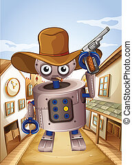 A robot wearing a hat and holding a gun