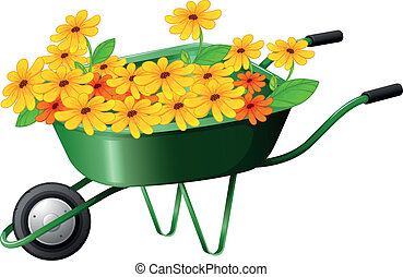 A pushcart full of flowers - Illustration of a pushcart full...