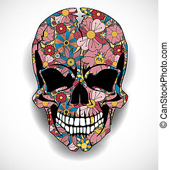 Skull with floral ornaments