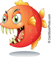 An orange piranha - Illustration of an orange piranha on a...