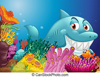 A big shark near the coral reefs - Illustration of a big...