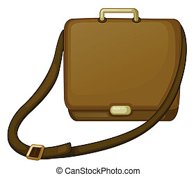 A brown bag - Illustration of a brown bag on a white...