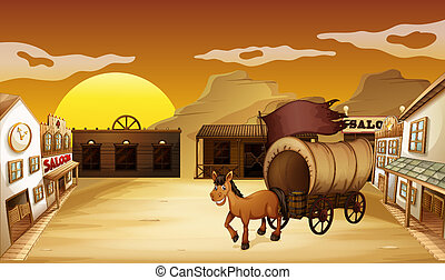 A carriage outside the saloon bar - Illustration of a...