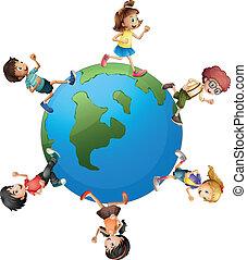 Six kids walking around the planet earth