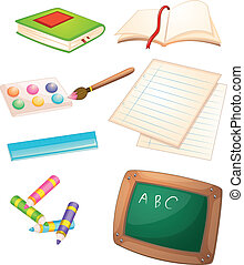 Different things used in the school - Illustration of the...