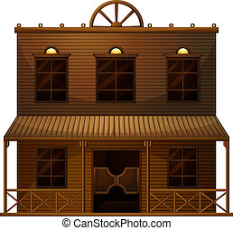 A wild west bar - Illustration of a wild west bar on a white...