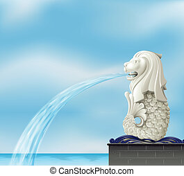 A white merlion - Illustration of a white merlion