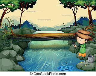 A boy fishing at the river - Illustration of a boy fishing...