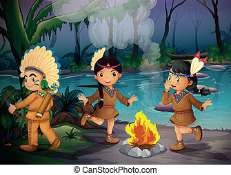 A forest with three young Indians - Illustration of a forest...