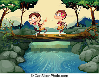 Two monkeys dancing while crossing the river