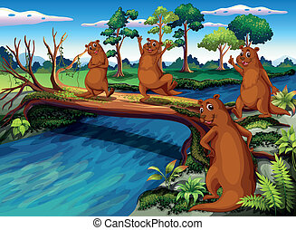 Four wild animals at the riverside - Illustration of the...