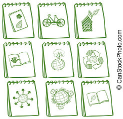 Notebooks with green drawings at the cover page -...