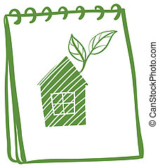 A notebook with a drawing of a house with leaves
