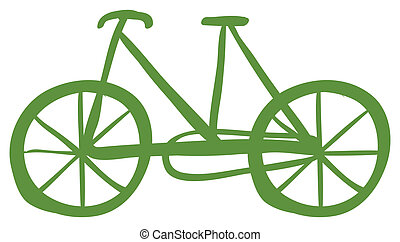 A green bike - Illustration of a green bike on a white...