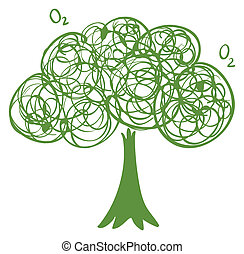 A drawing of a green tree
