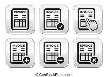 Invoice, finance vector buttons set - Invoicing in company,...