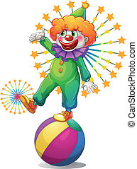 A clown above the inflatable ball - Illustration of a clown...