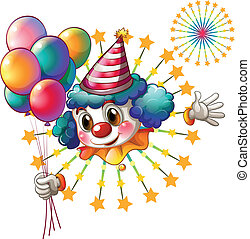 A clown with balloons and a firework display - Illustration...