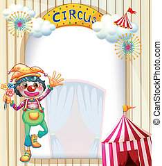 A circus entrance with a clown - Illustration of a circus...