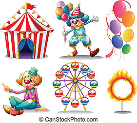 Illustration of a circus tent, clowns, ferris wheel, balloons and a ring of fire on a white background