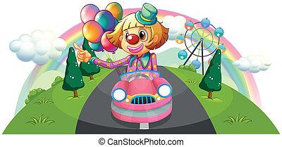 A pink car with a female clown