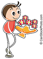 A boy holding a bouquet of flowers