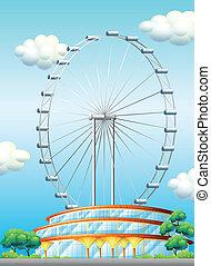 A stadium with a big ferris wheel