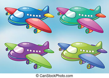 Four toy planes in the sky - lllustration of the four toy...