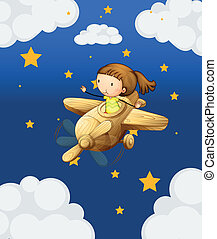 A girl riding in a wooden plane - Illustration of a girl...
