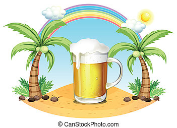 A glass of beer at the beach - Illustration of a glass of...