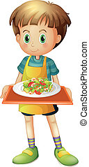 A young boy holding a tray with a plate