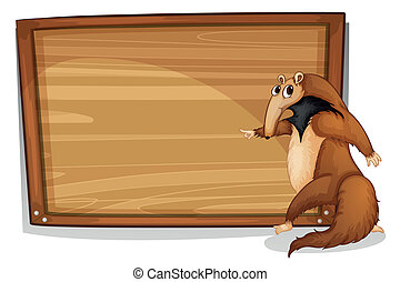 A wild animal beside an empty wooden board
