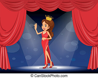 A lady with a crown at the stage - Illustration of a lady...