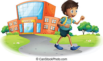 A boy going home from school - Illustration of a boy going...