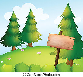 A blank wooden sign board in the forest - lllustration of a...