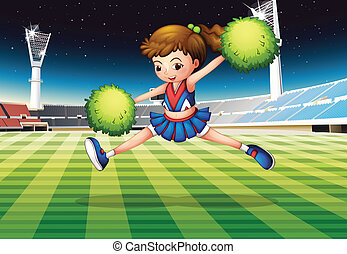 A cheerleader with green pompoms