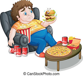 A fat boy in front of a lots of foods - Illustration of a...