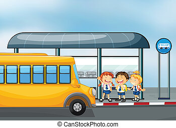A yellow school bus and the three kids - Illustration of a...